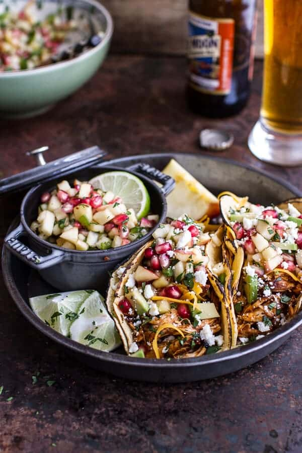 Spicy Cider Beer Braised Chicken Enchilada Tacos w-Sweet Chili Apple-Pomegranate Salsa | halfbakedharvest.com @hbharvest