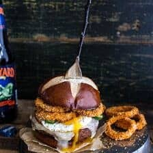 Sweet Potato Black Bean Chili Burgers w/Baked Cheddar Beer Onion Rings.