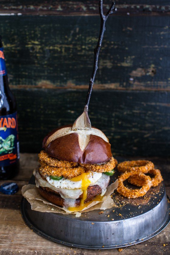 Sweet Potato Black Bean Chili Burgers w-Baked Cheddar Beer Onion Rings + Fried Egg.-1