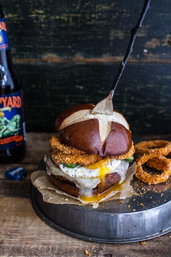 Chili Style Sweet Potato Black Bean Burgers w/Baked Cheddar Beer Onion ...