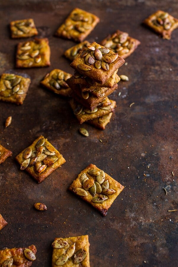 Sweet and Spicy Rosemary Cheddar + Gorgonzola Pumpkin Crackers | halfbakedharvest.com @hbharvest