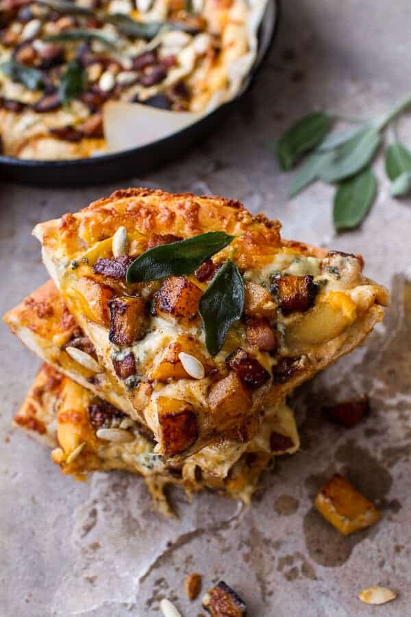 Sweet 'n' Spicy Roasted Butternut Squash Pizza w/Cider Caramelized Onions + Bacon | halfbakedharvest.com @hbharvest