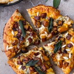 Sweet 'n' Spicy Roasted Butternut Squash Pizza w/ Cider Caramelized Onions + Bacon.