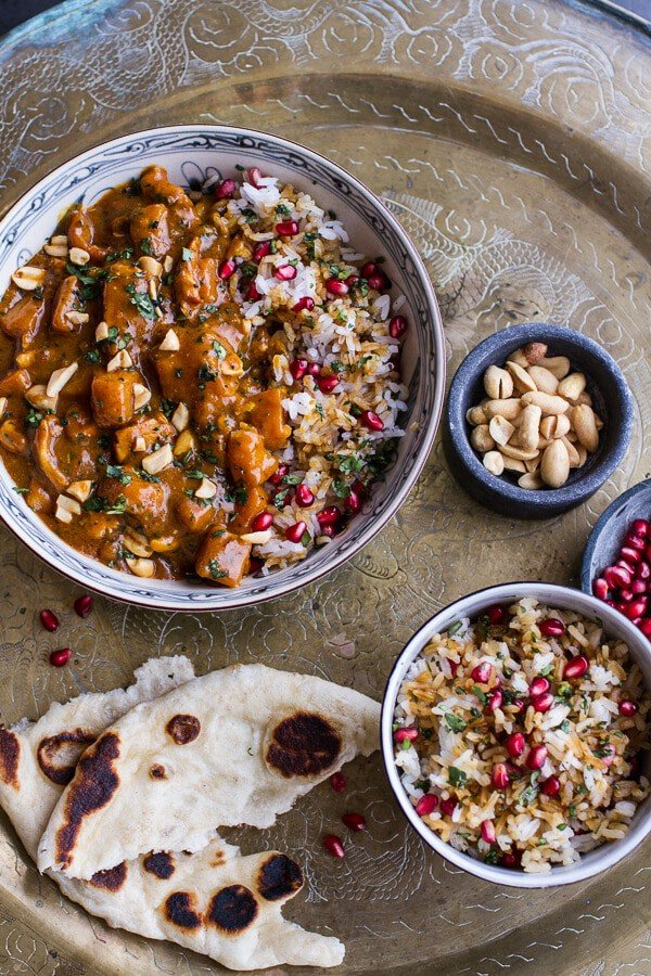 Thai Peanut Chicken and Pumpkin Curry w/Sticky Pomegranate Rice | halfbakedharvest.com @hbharvest