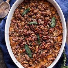 Bourbon Sweet Potato Casserole with Sweet 'n' Savory Bacon Pecans + Video.