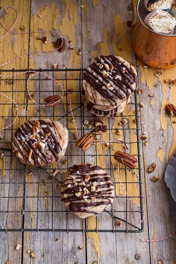 Chocolate Drizzled Buttery Pecan and Caramelized Condensed Milk Cookies | halfbakedharvest.com @hbharvest