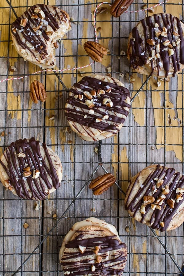 Chocolate Drizzled Buttery Pecan and Caramelized Condensed Milk Cookies   halfbakedharvest.com @hbharvest