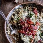 Harissa, Broccoli, Spinach, Wild Rice Casserole with Crispy Prosciutto.