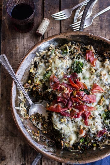 Harissa, Broccoli, Spinach, Wild Rice Casserole with Crispy Prosciutto.