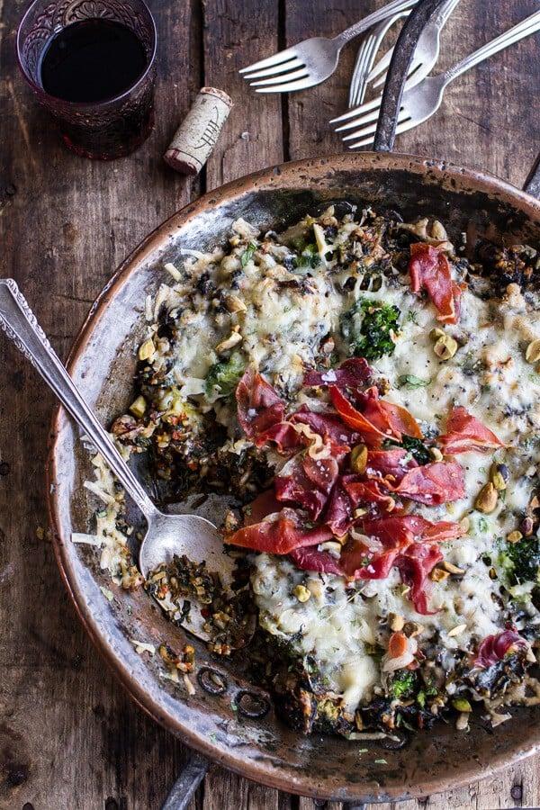 Harissa, Broccoli, Spinach, Wild Rice Casserole with Crispy Prosciutto |halfbakedharvest.com @hbharvest