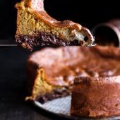 Incredibly Gooey Collapsing Chocolate Bourbon Pecan Pie Custard Cake-1