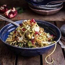 Manchego Brussels Sprout + Prosciutto Spaghetti w/Brown Butter Pistachio Pangrattato.