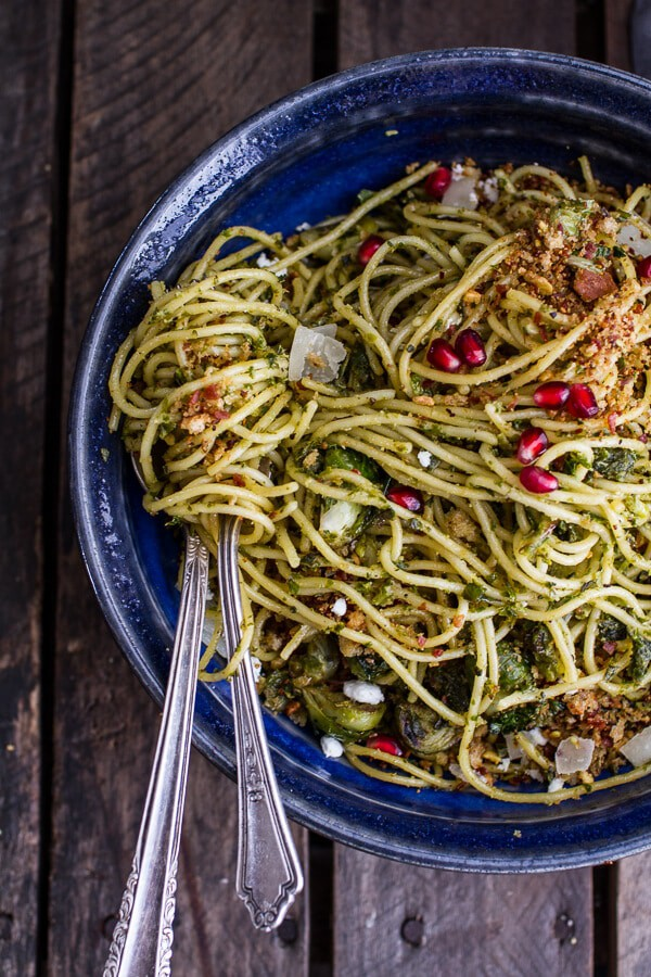 Manchego Brussels Sprout + Prosciutto Spaghetti w/Brown Butter Pistachio Pangrattato | halfbakedharvest.com @hbharvest