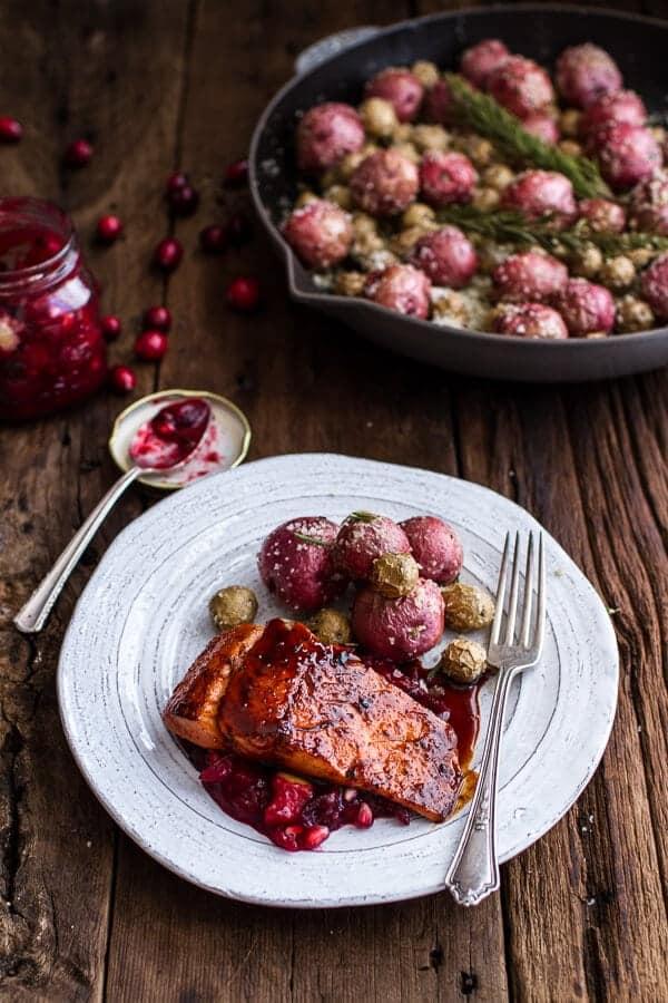 Maple Bourbon Glazed Salmon w/Sweet Cranberry Chutney + Salt Roasted ...