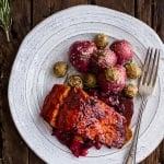 Maple Bourbon Glazed Salmon w/Sweet Cranberry Chutney + Salt Roasted Potatoes.
