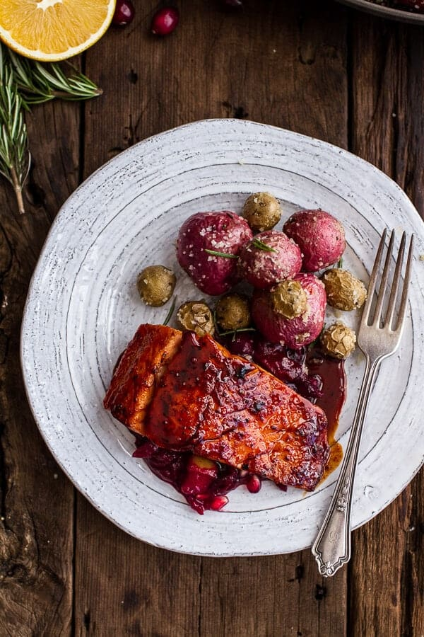 Maple Bourbon Glazed Salmon w/Sweet Cranberry Chutney + Salt Roasted Potatoes | halfbakedharvest.com @hbharvest