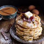 Rum and Cranberry Pancakes with Butter Rum Syrup.