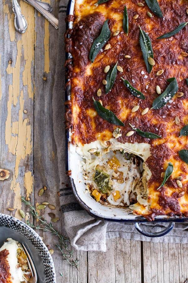 Simple Caramelized Butternut Squash and Kale Florentine Lasagna |halfbakedharvest.com @hbharvest