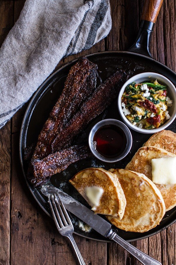 Breakfast for Dinner w/Buttermilk Ricotta Pancakes with Maple Candied Bacon + Eggs | halfbakedharvest.com @hbharvest