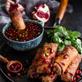 Chinese Chicken and Brussels Sprouts Egg Rolls with Sweet Chile Pomegranate Sauce-1