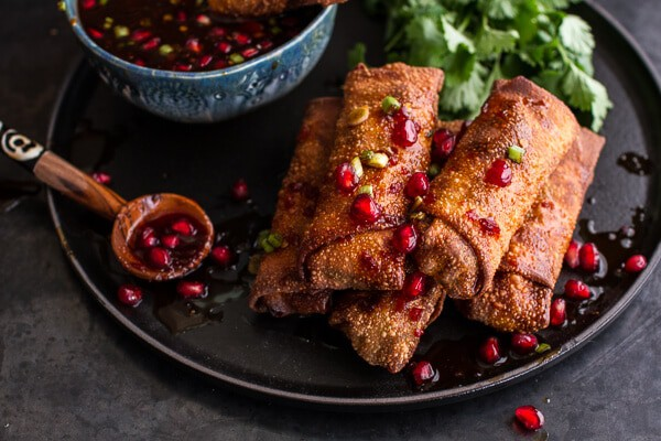 Chinese Chicken and Brussels Sprouts Egg Rolls with Sweet Chile Pomegranate Sauce | halfbakedharvest.com @hbharvest