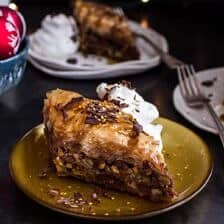 "Chocolate ""Candy Bar"" Baklava with Butter Rum Sauce."