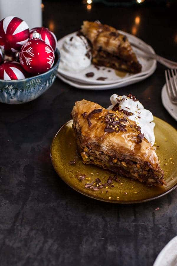 "Chocolate ""Candy Bar"" Baklava with Butter Rum Sauce 