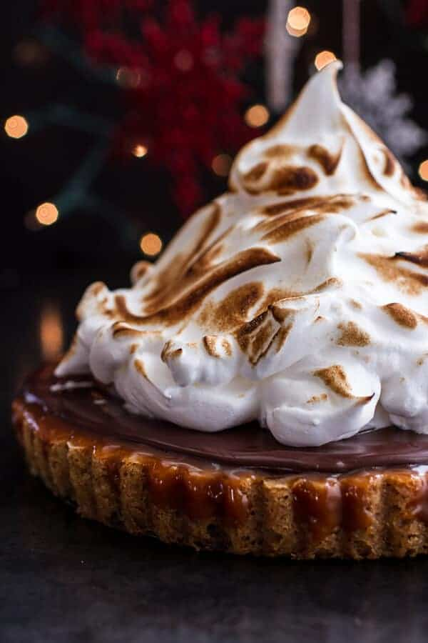 Chocolate Chip Cookie Bottomed Salted Rum Caramel Tart with Toasted Marshmallow | halfbakedharvest.com @hbharvest