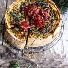 Deep Dish Spinach and Prosciutto Quiche with Toasted Sesame Crust.