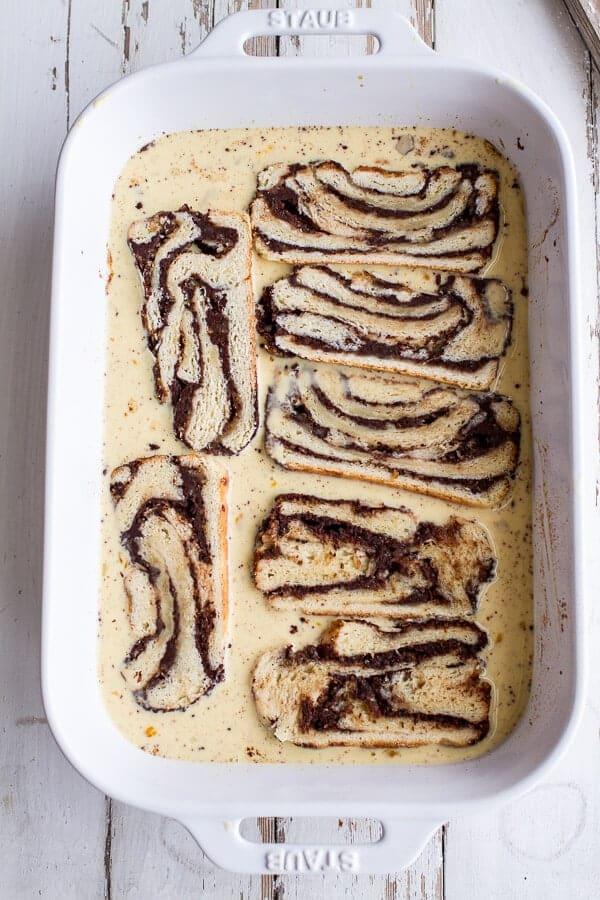 Eggnog Chocolate Marzipan Babka French Toast | halfbakedharvest.com @hbharvest