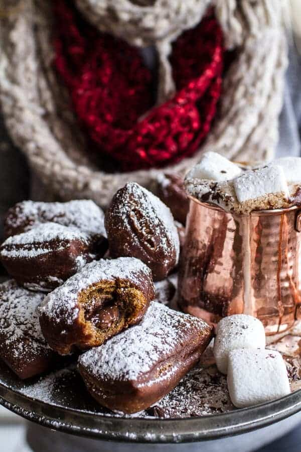 Gingerbread Surprise Beignets with Spiced Mocha Hot Chocolate.