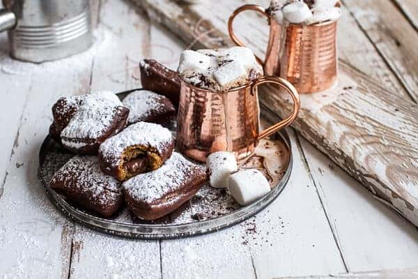 Gingerbread Surprise Beignets with Spiced Mocha Hot Chocolate   halfbakedharvest.com @hbharvest