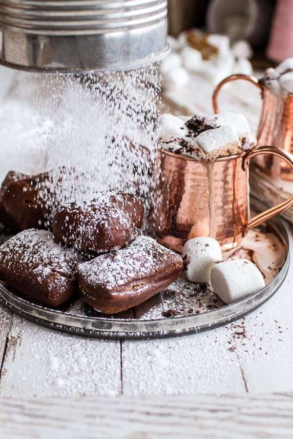 Gingerbread Surprise Beignets with Spiced Mocha Hot Chocolate | halfbakedharvest.com @hbharvest