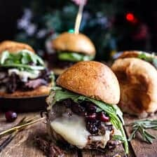 Gingery Steak and Brie Sliders with Balsamic Cranberry Sauce.