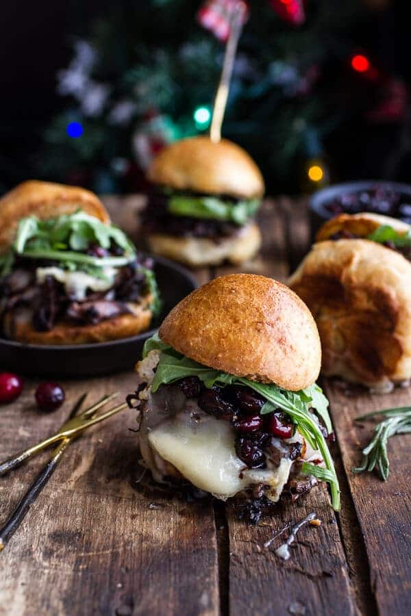 Gingery Steak and Brie Sliders with Balsamic Cranberry Sauce | halfbakedharvest.com @hbharvest
