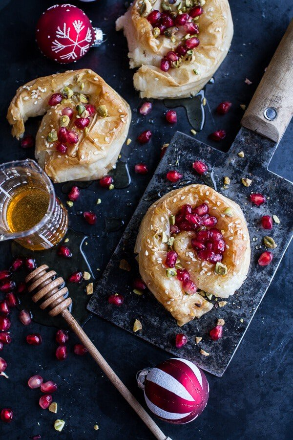 Goat Cheese Stuffed Phyllo Swirls with Pomegranate Honey + Pistachios ...