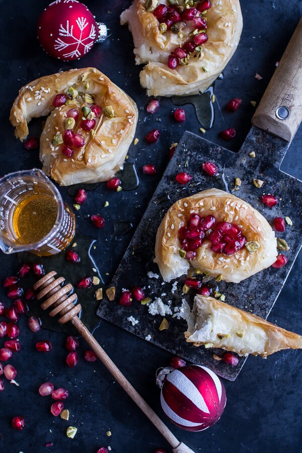 Goat Cheese Stuffed Phyllo Swirls with Pomegranate Honey + Pistachios | halfbakedharvest.com @hbharvest