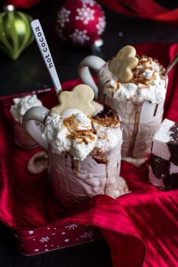 Naughty Nice Hot Cocoa with Spiked Eggnog Marshmallows.