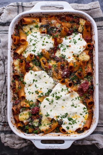 One-Pan Four Cheese Sun-Dried Tomato and Spinach Drunken Pasta Bake.