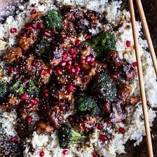Pomegranate Sesame Chicken with Ginger Rice Pilaf.