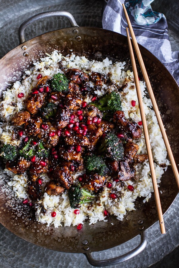 Pomegranate Sesame Chicken with Ginger Rice Pilaf | halfbakedharvest.com @hbharvest