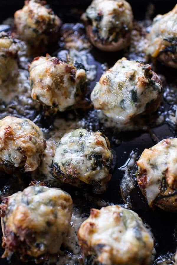 Spicy Fontina Spinach, Artichoke and Chorizo Stuffed Mushrooms | halfbakedharvest.com @hbharvest