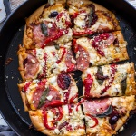 Sun-Dried Tomato and Olive Pesto Pizza with Salami + Roasted Red Peppers.-1