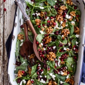 Winter Salad with Maple Candied Walnuts + Balsamic Fig Dressing-1