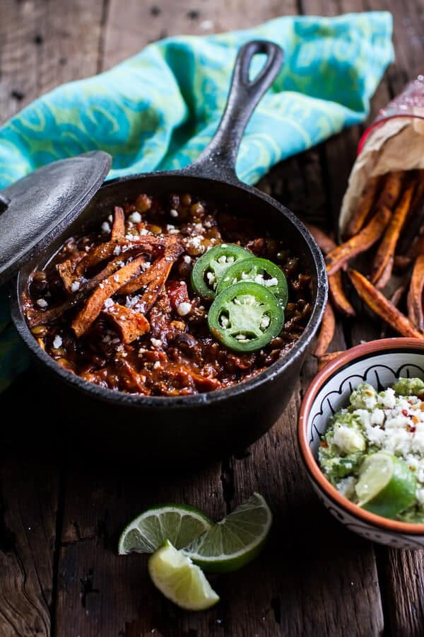 Spicy Black Bean and Lentil Chili with Cotija Guacamole + Chipotle Sweet Potato Fries.