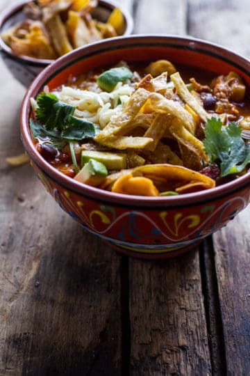 Cheesy Chicken Tortilla Tortellini Soup.