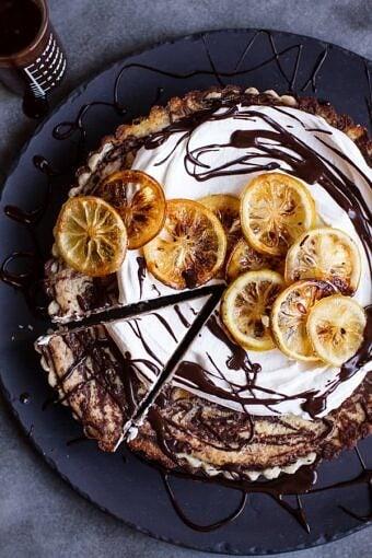 Chocolate Fudge Swirled Lemon Ricotta Tart | halfbakedharvest.com