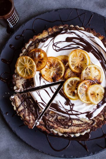 Chocolate Fudge Swirled Lemon Ricotta Tart.