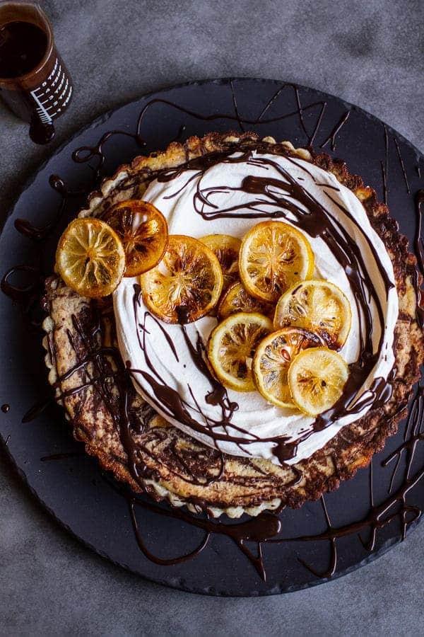 Chocolate Fudge Swirled Lemon Ricotta Tart | halfbakedharvest.com @hbharvest