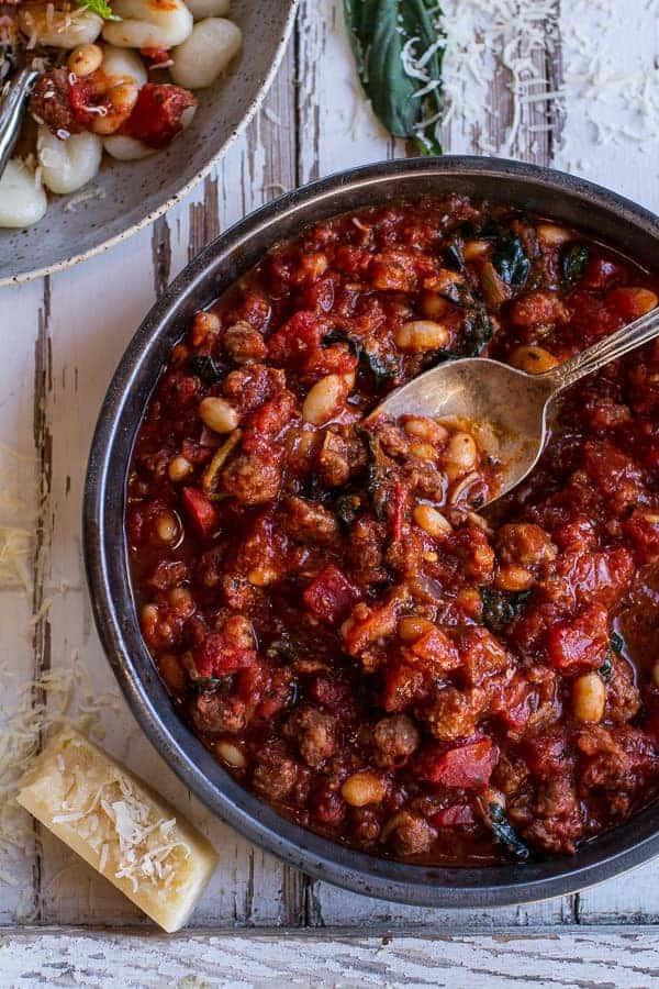 Crockpot Tuscan Sausage and White Bean Ragu with Buttered Gnocchi | halfbakedharvest.com @hbharvest